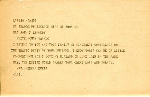 Ourpresidents Condolence Letter To Jacqueline Kennedy From Myrlie