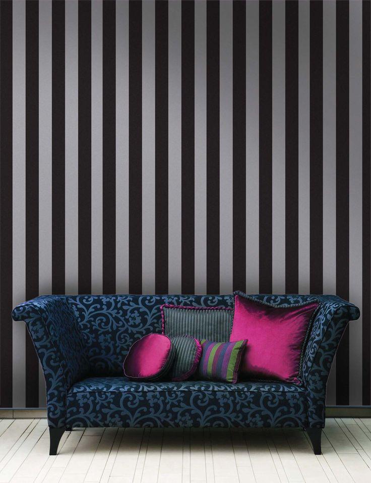 Empapelado - Raya negro y gris - Papel de parede