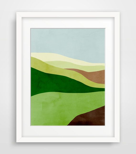 Abstract Landscape Art Print Mid Century Modern Art by evesand, $21.00