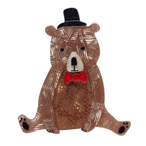 "Erstwilder Collectable Bear With Me Brooch. ""Me: I'm going to get dressed-up in my fanciest hat and tie for a night out. Also me: But I'm so very comfy right here."""