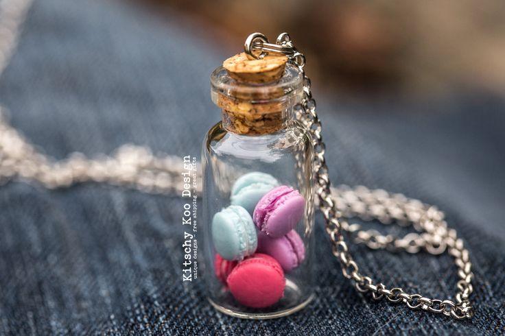 FREE SHIPPING - Berry Pink Purple Blue Macaron Miniature Food Necklace - Handmade Tiny Food Jewellery - Jewelry - Free Postage - Worldwide
