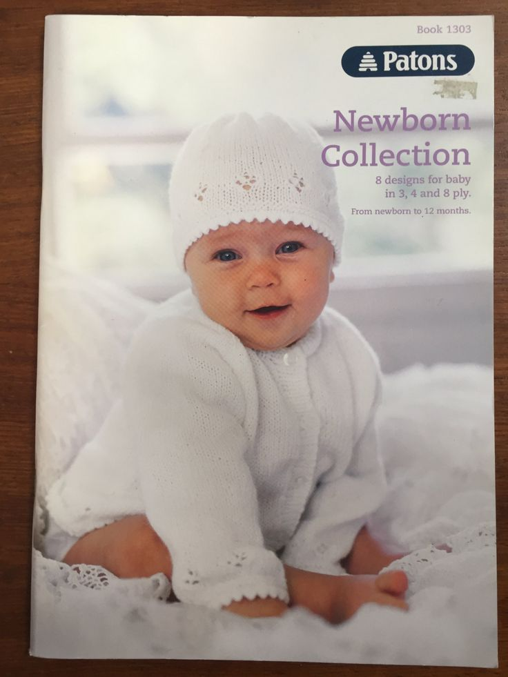 Patons Pattern Book 1303 Newborn Collection 8 Designs 3,4 & 8 Ply Newborn…