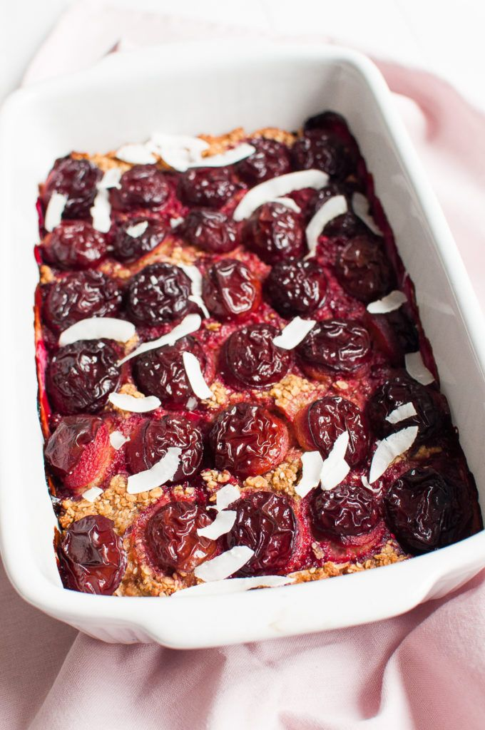 Baked coconut oatmeal with plums is perfect for a weekend brunch with friends and family. One oven pan of the bake will feed a crowd.