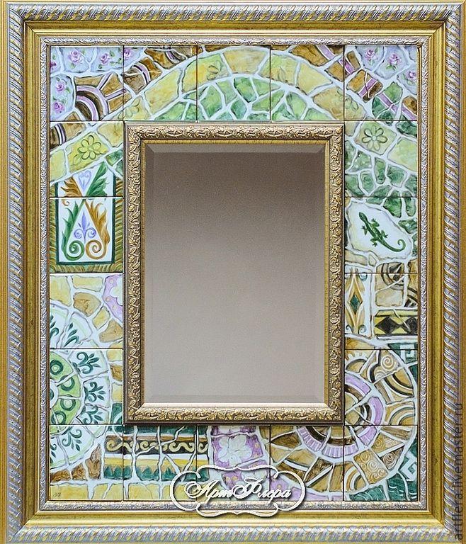 """Купить Зеркало """"Вспоминая парк """"Гуэль"""" - серебряный, зеркало, зеркало настенное…"""