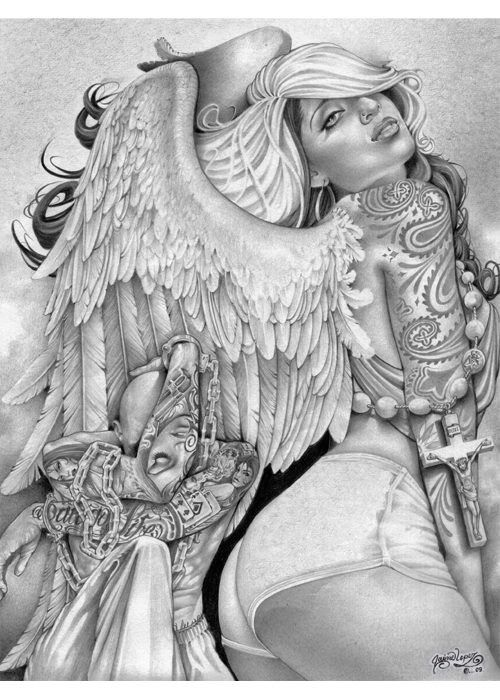 Angel Girl by Mouse Lopez Prison Drawings FramedArt Print