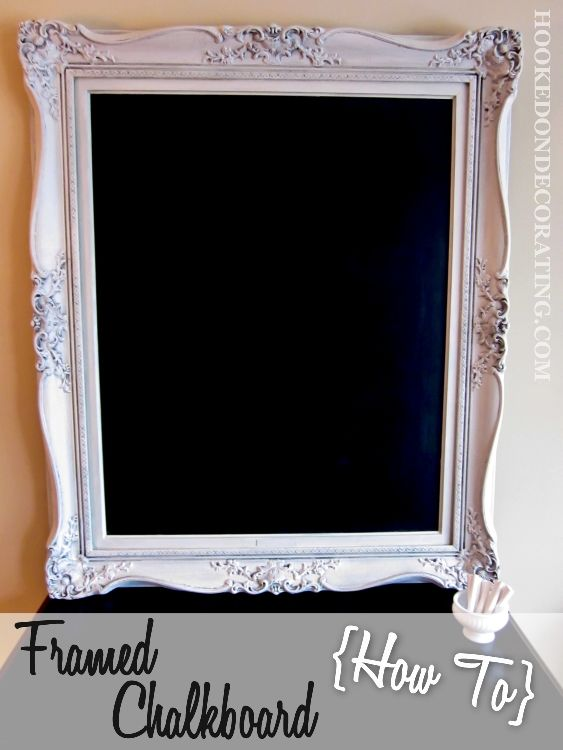 Large ornate frame turned chalkboard. Painted in an old world french blue finish. I also posted a tutorial so you can make your own.