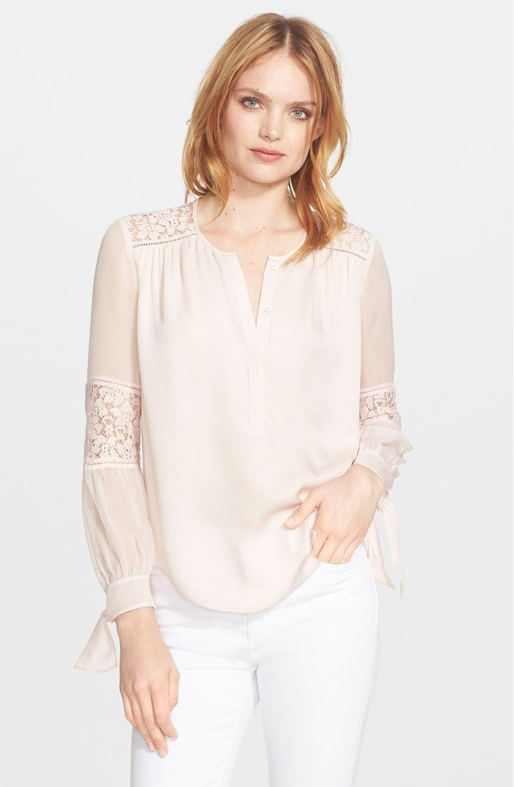 Rebecca Taylor Long Sleeve Silk and Lace Blouse