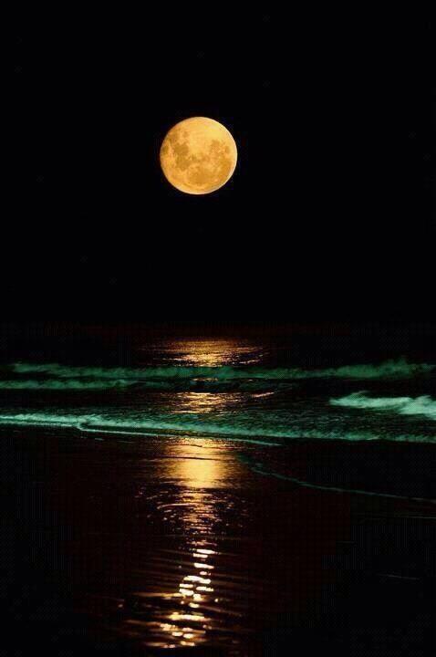 The Moon over Cadiz, Spain.