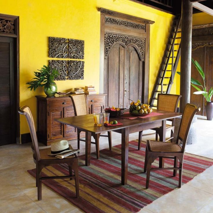 Amazing yellow dining room colonial style indochine for Colonial style trim