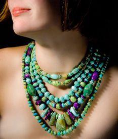 turquoise, jade green & purple multi-strand