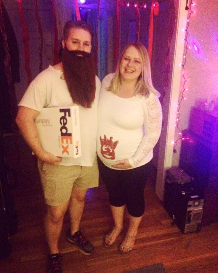 Tom Hanks and Wilson from Castaway -- Pregnant Halloween Costumes!