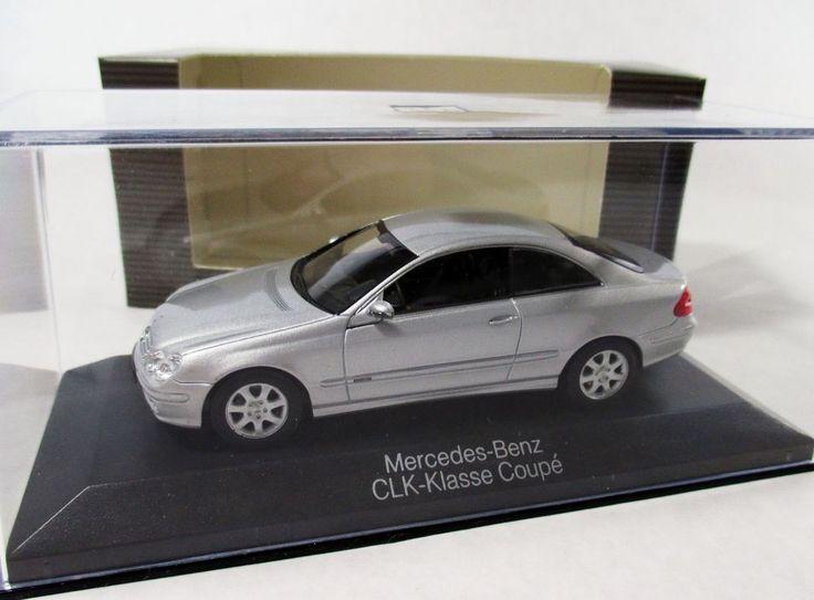 MINICHAMPS 1:43 W209 2002 Mercedes-Benz CLK-Classe Coupe; silver; dealer #Minichamps #MercedesBenz