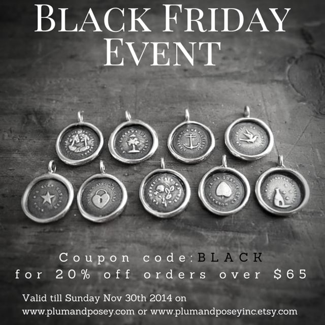 Wax Seal jewelry - Black Friday Sale.  20% off purchases over $65 use coupon code: BLACK  Ends midnight Nov 30th, 2014.  Pin & Share