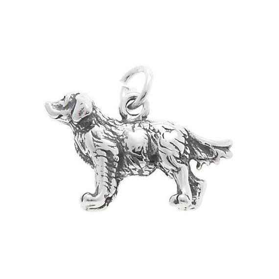 Sterling Silver Golden Retriever Dog Charm 3d Charm Dogs