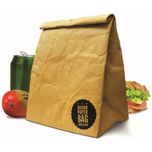 The cool retro Brown Paper Lunch Bag from Luckies surprises with a retro design combined with an innovative material mix.