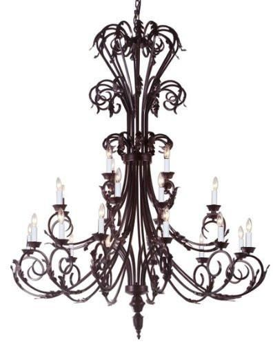 Large Foyer Entryway Wrought Iron Chandelier 50 Inches Tall H50