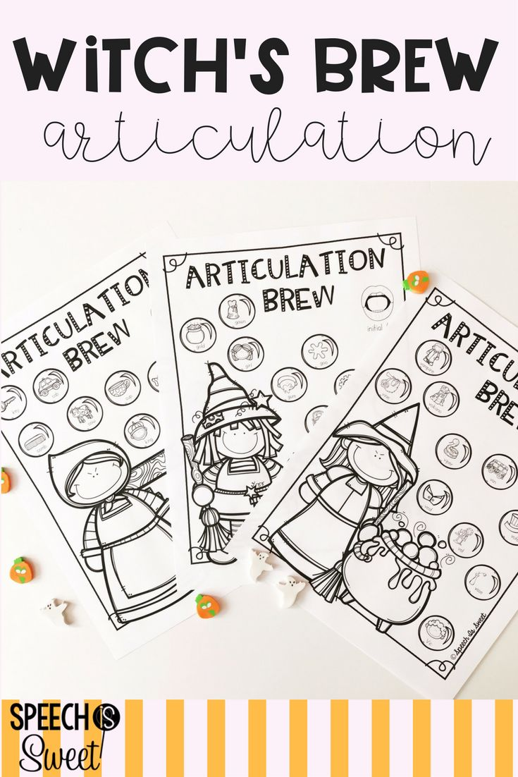 Coloring activities speech therapy - Witch S Articulation Brew Is Perfect For Halloween Speech Therapy These Sheets Cover Initial And Final Sounds And Blends Speech Students Will Love Using