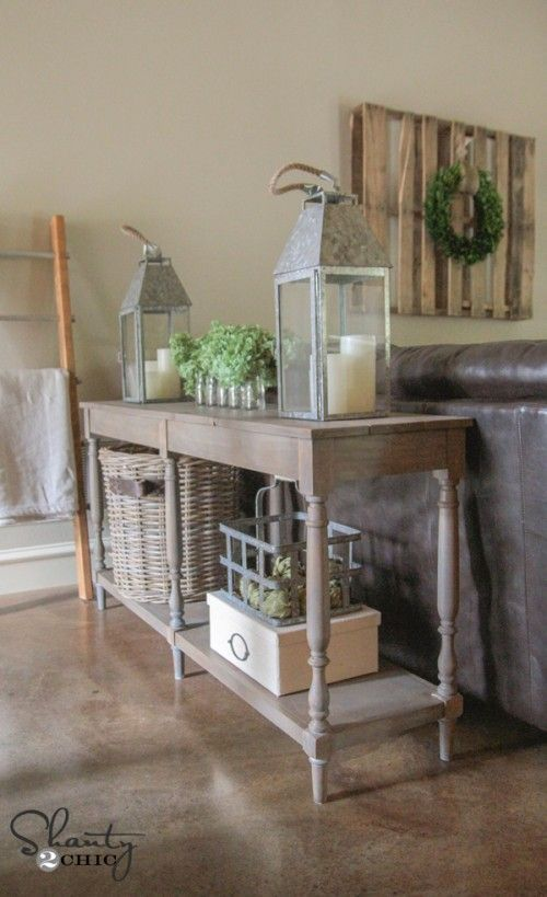 DIY Woodworking Ideas Create a simple but beautiful DIY Console Table with these FREE woodworking plan...
