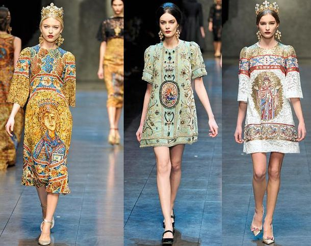 63fd9b572eee Dolce   Gabbana Fall 2013 Byzantine inspired tunic like linen dresses with  crown and elaborate embroidered de…