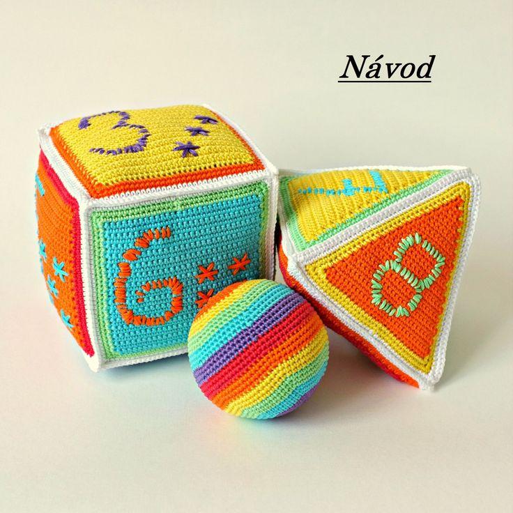 Háčkované barevné Kostky - Návod