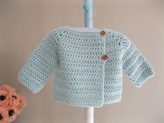 Hand crocheted baby sweater. Asymmetrical cardigan by firstsnowflake on Etsy.