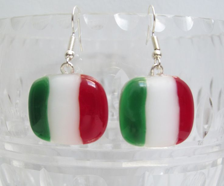 Earrings Fused Glass, handmade glass fusing, Italy flag, Italian flag, country flag, europe green white red by HemBee on Etsy