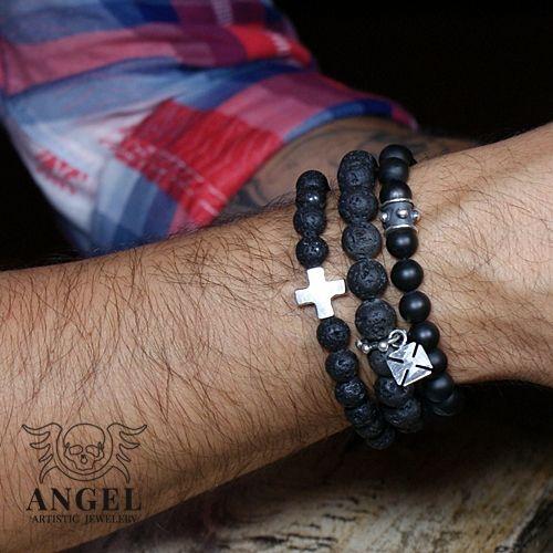 Crusader Black Onyx -bransoleta Biżuteria Dla mężczyzn Anioł