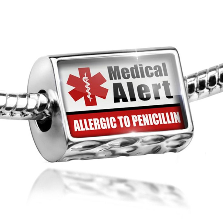 Charm Medical Alert Red ALLERGIC TO PENICILLIN - Bead Fit All European Bracelet