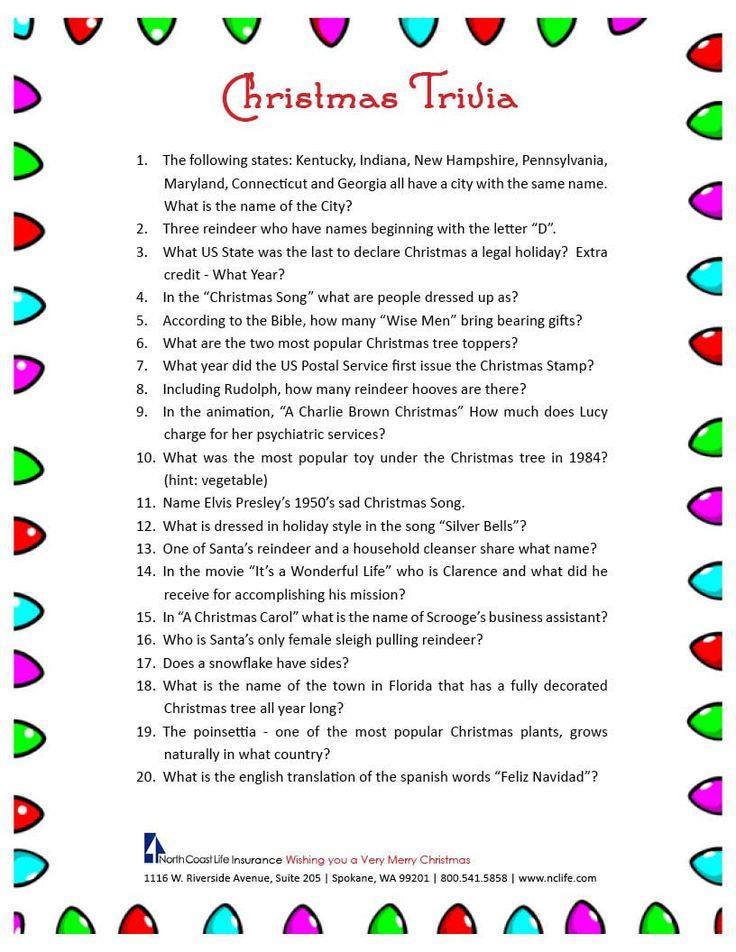 Christmas trivia game. FREE Printable