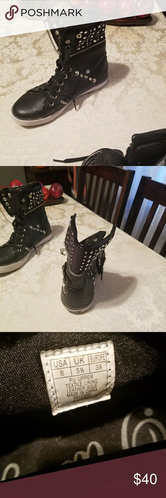 Pastry cheetah black changeable sneakers Barley used. Can take high tops off or wear on. Cute cheetah print inside pastry Shoes Sneakers