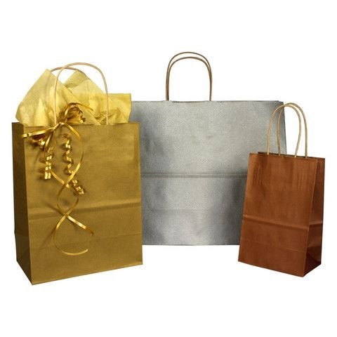 Paper Shopping Bags Metallic on Kraft - Twisted Paper Handles – B2BWraps.com