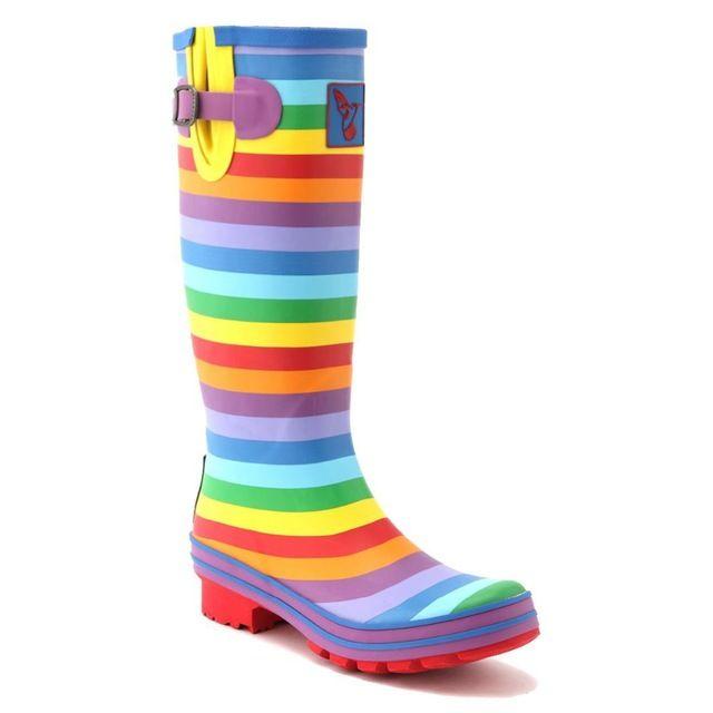 Evercreatures uk bristol merk laarzen regenboog mode hoge kwaliteit rubberlaarzen rijlaarzen laarzen regen rubber laarzen wellies vrouwen