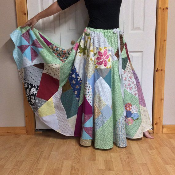 b491fd62c Hippie Patchwork Skirt Plus Size Long Maxi Skirt with Pockets 3X-4X-5X  Tall, Womens Country Chic Quilted Clothes, One Size Fits Most