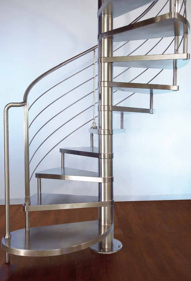 Spiral staircase stainless steel-lined steps with invisible welding and banister in horizontal stainless steel rods.