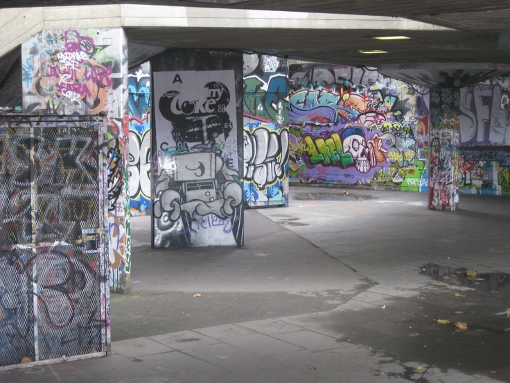 Graffiti on skate park by the London eye.