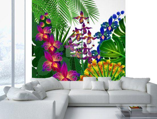 Fiori tropicali e foglie. disegno di sfondo floreale. carta da parati • carte da parati petali di fiori, beatiful, carnevale | myloview.it