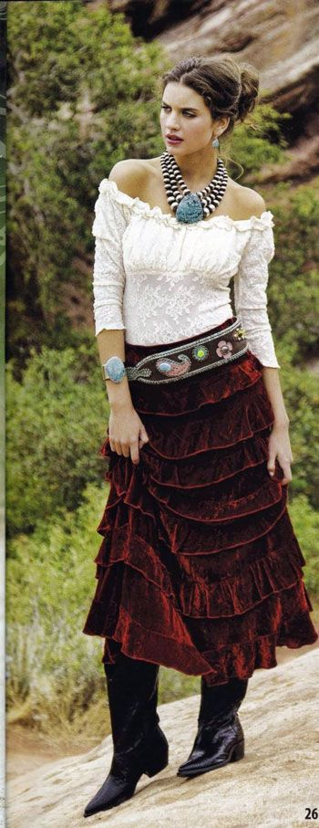 KEEP - Red velvet ruffled skirt - read about boho boots at http://boomerinas.com/2012/07/what-kind-of-boots-to-wear-with-boho-dresses/