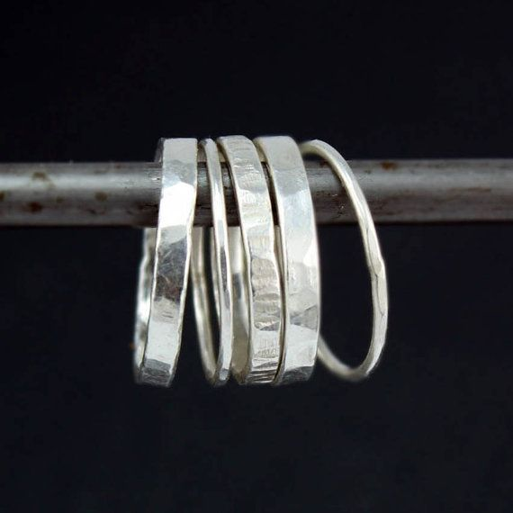ON SALE Hammered Silver Stacking Rings, Mixed Textures and Widths, Set of Five Stackable Rings