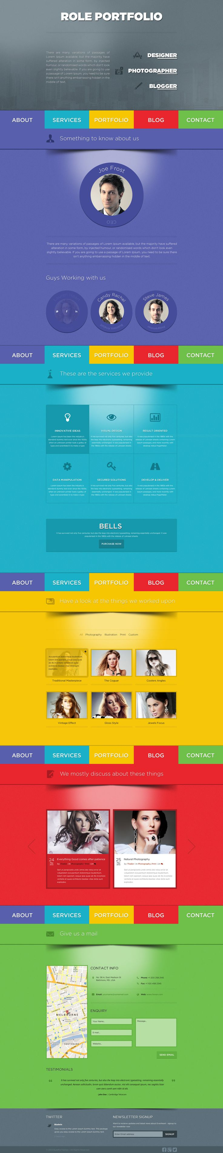 Hi thanks for your interest in Role – One Page Portfolio PSD Template ROLE is a vibrant Single Page / One Page PSD Template for Personal Portfolio, Web design Agency. With ROLE, you can customise your thought of the website in a colorful manner. It is so versatile that and accompanies any one page website.