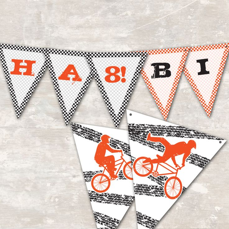 BMX Birthday Party Pennant Banner | | Paper and Cake | | 2 WAYS TO PARTY: DOWNLOAD and print out at home OR choose PRINT CUT & SHIP and we'll do the work!