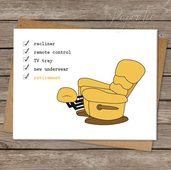 """Retirement Card. Funny Retirement Greeting Card. Funny Card For Him, Lazy, Recliner, Men, Old, Simple, Illustrated. """"Recliner Checklist"""" @Amanda Snelson Harris Tie Affair"""