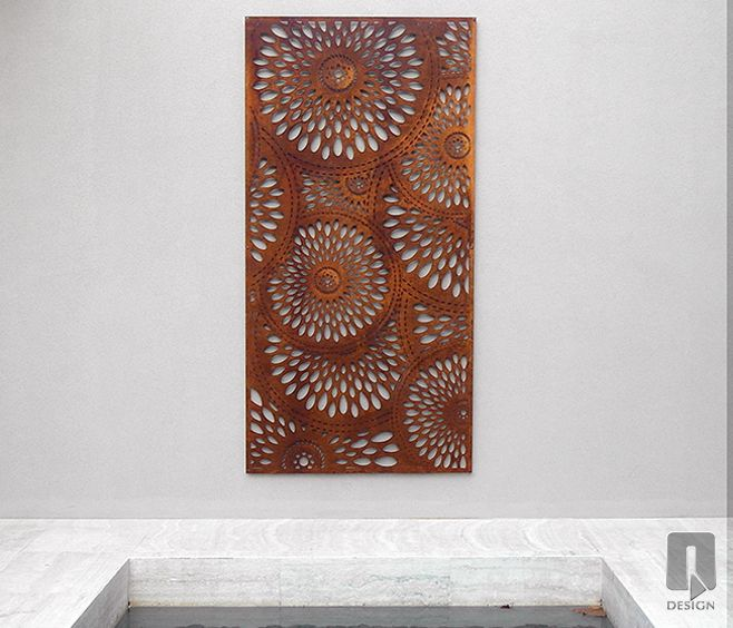 Viasi Laser Cut Screen | Locally designed and manufactured outdoor ccreens, wall features, The Viasi Outdoor Screen is a intricate design, with repetitive organic shapes perfectly balanced to add impact and character to outdoor spaces. Available from WG Outdoor Life, Perth, Western Australia.