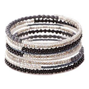 Tuxedo Memory Wire Bracelet Kit by FusionBeads.com® | Fusion Beads