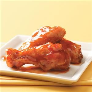 Honey-Barbecue Chicken Wings Recipe -The slightly sweet barbecue flavor in this sauce provides mass appeal...and the need to keep eating more wings! —Taste of Home Test Kitchen, Milwaukee, Wisconsin