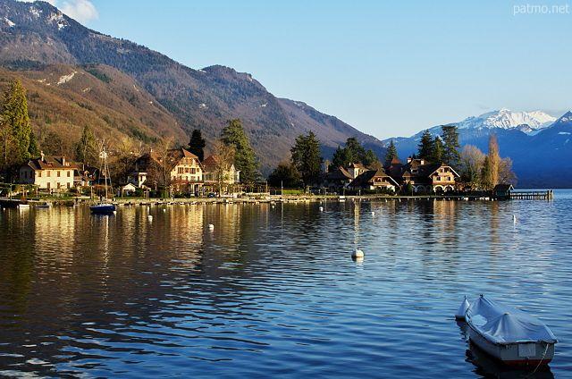 Springtime on Talloires bay. Annecy lake, France, Haute Savoie department.