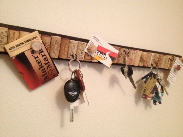 Upcycled barrel stave wine cork key holder on barrel staves from Makers Mark Bourbon. $40.00, via Etsy.
