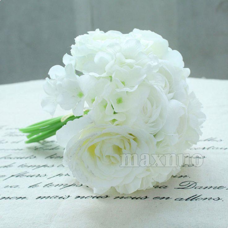 Бесплатная доставка пион гортензии белые розы шелк цветок люкс для невесты букет свадебные украшения, принадлежащий категории Декоративные цветы и венки и относящийся к Для дома и сада на сайте AliExpress.com | Alibaba Group