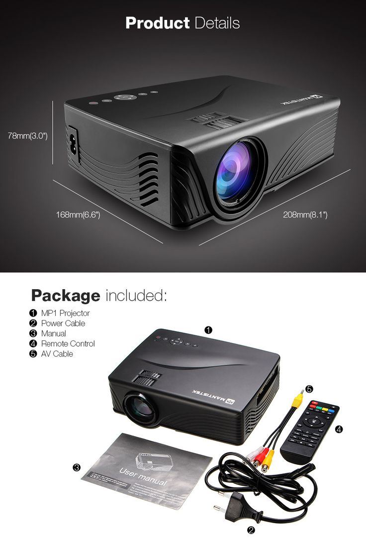 MantisTek® MP1 1200 Lumens Android 4.4 1G/8G WiFi Portable LED Projector with SD HDMI Support 1080P for Home Cinema Theater TV Laptop Smartphone Games