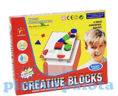 Ezzel a kreatív formakirakós játékkal fejlődik a gyermek kézügyessége, logikája, fantáziája. A dobozban 32 db színes alakzat található (6 alap geometriai forma piros, sárga, zöld, kék színekben, kisebb és nagyobb méretben), valamint 30 db puzzle kártya.