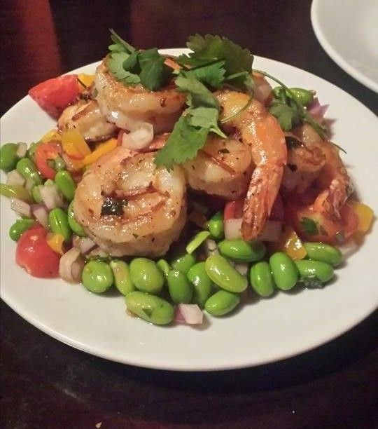 Grilled Prawns With Bean and Mango Salsa